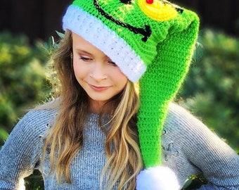 Grinch Inspired Elf Christmas Hat - Holiday Hat - Baby Elf Hat - Christmas Hats - Christmas Photo Props - Elf Hats - Christmas
