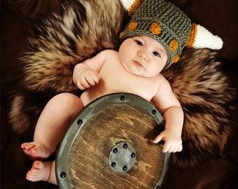 Viking baby hat, baby Viking helmet, crochet viking hat, crochet baby hat, newborn Viking hat