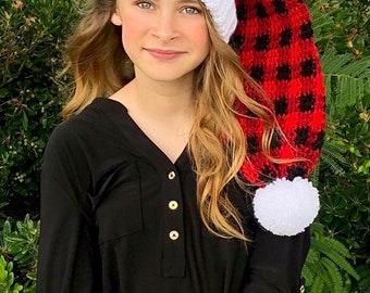Buffalo Plaid Santa Hat - Holiday Hat - Santa Hat - Vintage Santa Hat - Christmas Hats - Christmas Photo Props - Long Hats - Christmas