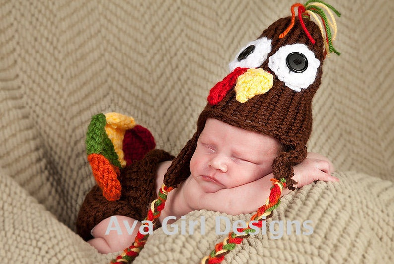277dad96b Newborn Baby Turkey Hat Diaper Cover Set, Thanksgiving Baby Outfit, Knit  Baby Set, Holiday Baby Set, Turkey Hat