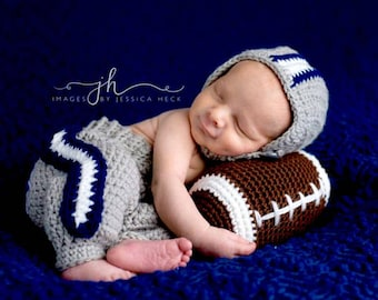 Baby Cowboy Helmet Pant Set - Dallas Baby Outfit - Football Baby Set - Photo Prop - Photography Props