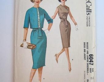 Vintage 60s McCalls sewing pattern shift dress jacket size 13 Pattern Number 6047