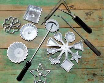 Vintage rosette iron-timbale-waffle maker-farmhouse-bakery-kitchen utinsels-baking supplies-Scandinavian-Rosette