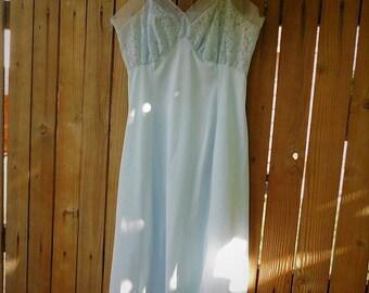 Vintage Slip-60s-Van Raalte-Baby Blue-Nylon-Nightgown-lingerie-lace-sheer sleepwear-Vintage lingerie