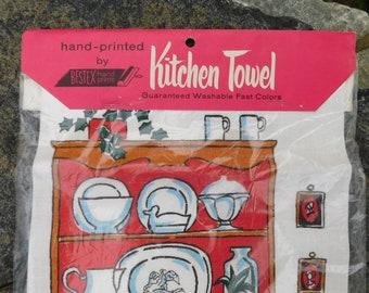 Vintage Towel-Kitchen towel-Bestex-Rhode Island-Vintage Linens-kitchen linens-hand towel-new in package-Tea towel-printed towel