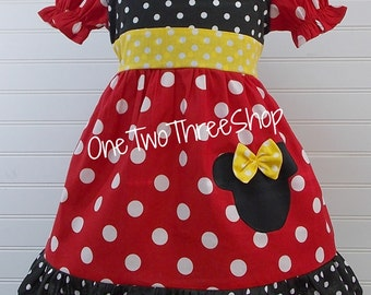 Custom Boutique Clothing Minnie Med  Red Yellow Puffy Sassy Girl Dress