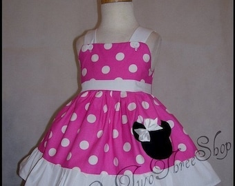 Minnie Mouse Dress Birthday Custom Boutique Children Clothing Med Bubble Gum Sassy Girl