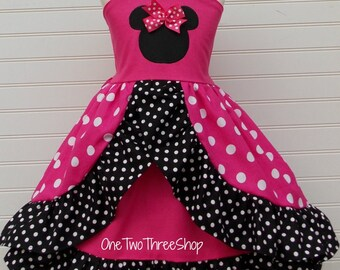 Minnie Mouse Dress Custom Boutique Clothing Med Pink Arch Skirt Peekaboo Front Sassy Girl