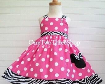 Custom Boutique Clothing Minnie Mouse Med  Bubble gum Zebra Sassy Girl Dress