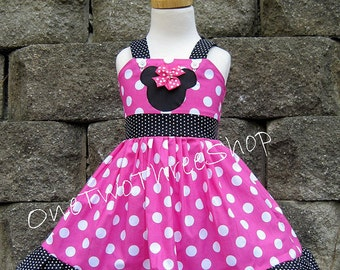 Minnie mouse Dress Custom Boutique Clothing Med Pink Tiny dot Sassy Girl