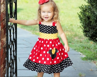 Minnie Mouse Dress Custom Boutique Clothing Med Red Yellow  Sassy Girl