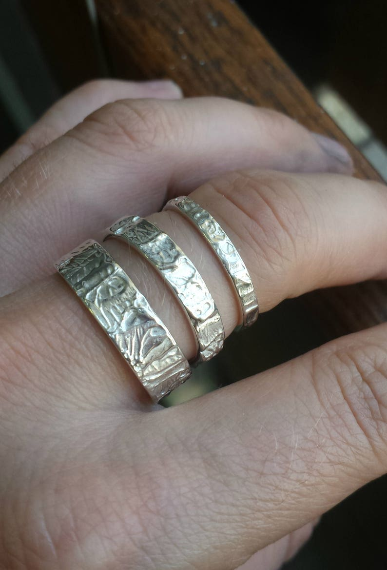 Rustic Primitive Ring Men/'s Fashion Men/'s Silver Jewelry Men/'s Silver Wedding Ring with Paint Splatter Texture Gift For Painter