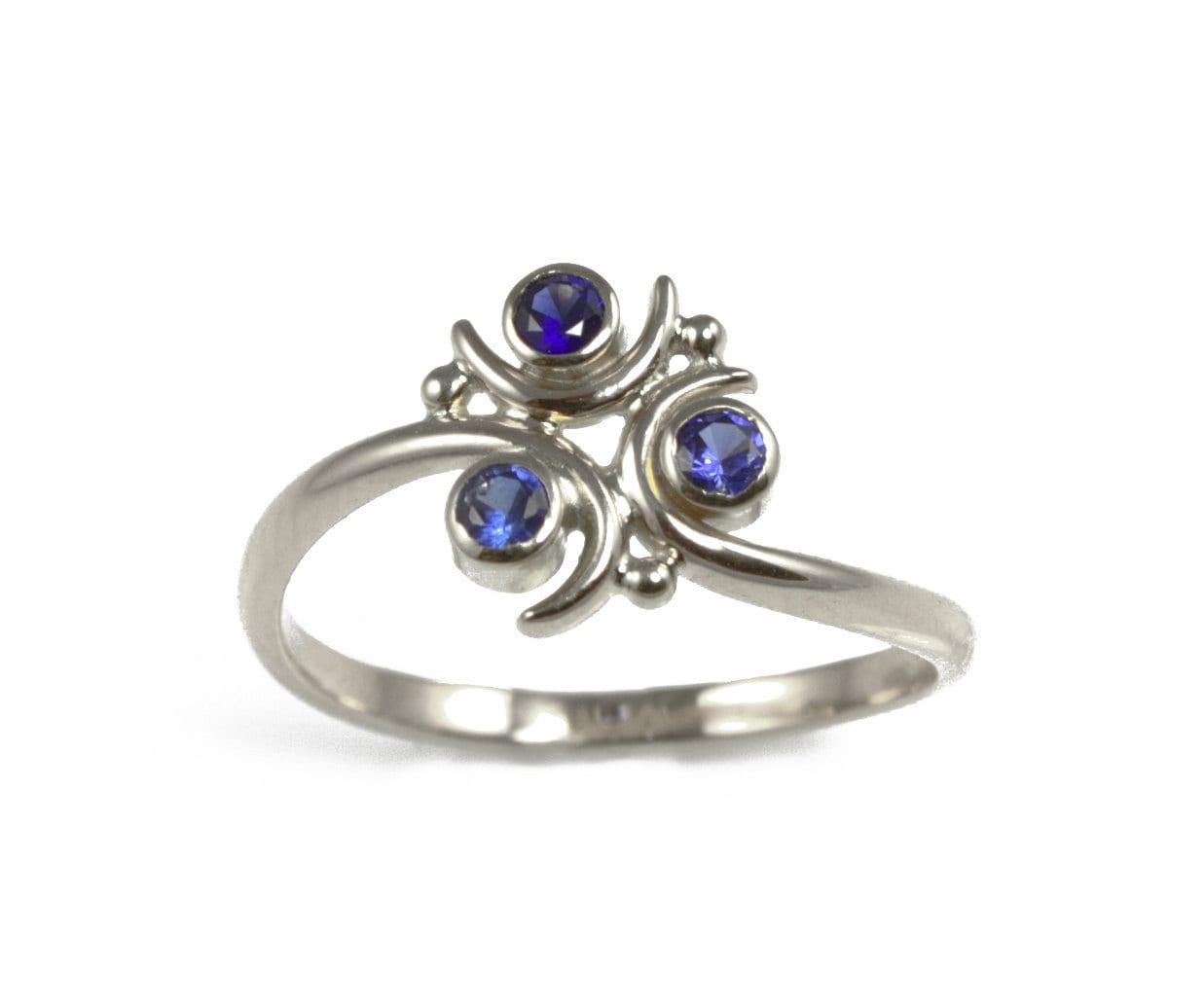 Zora Sapphire Ring Silver Geeky Ring Legend of Zelda