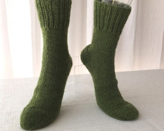 227d07c7e2b4d GREEN GRASS Hand Knit Rustic Thick Natural 100% Romney WOOL / Diabetic Wool  Socks / Warm Gift / American Wool socks