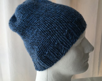 Hand Knit 100% Alpaca Wool Slouchy Beanie Hat in Shades of Blue   Soft  Alpaca Knit Hat d023204b0fad
