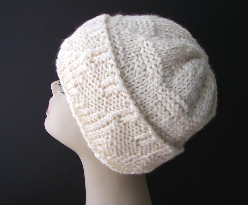 ca50ce15c50 Hand Knit Beanie Hat in Natural Cream White Undyed ECO WOOL