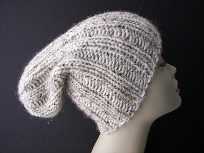 OATMEAL Chunky Slouchy Beanie Fold Up Hat in 100/% ICELANDIC LOPI Wool  Super Warm Beanie Ski Hat