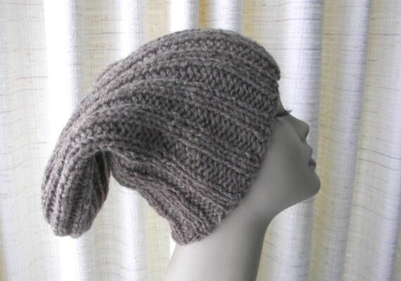 cc51c6d4445 Rustic 100% USA Farm WOOL Chunky Hand Knit Hat Natural Gray