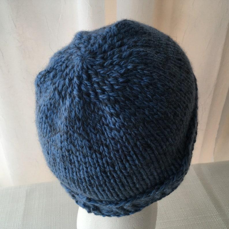 Hand Knit 100/% Alpaca Wool Slouchy Beanie Hat in Shades of Blue  Soft Alpaca Knit Hat