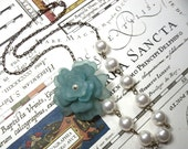 Vintage rose and pearl asymmetrical necklace- light teal flower, antiqued brass chain -vintage chic- free shipping in USA