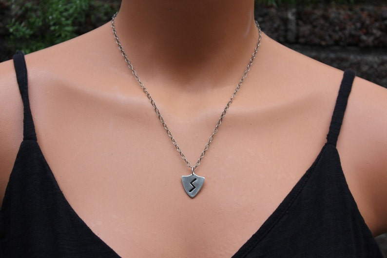 Elder Futhark Handmade Fine Silver Health Rune or personalized runic symbols or initials Letter S Sowulo Rune Shield Necklace