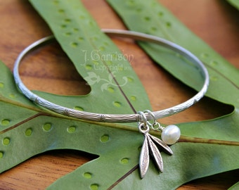 Silver bamboo bangle w/ freshwater pearl & bamboo leaf charm - free shipping USA