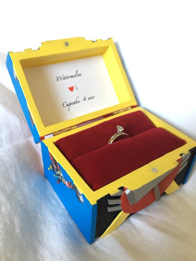 Ring Bearer Better than Handmade geek Box Engagement Ring Box personalized SuperHero Proposal ring Box Thor inspired Wedding Ring Box
