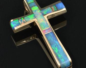 Opal Cross Pendant- Cross Pendant Inlaid with Opal- Australian Opal Cross Pendant in Gold
