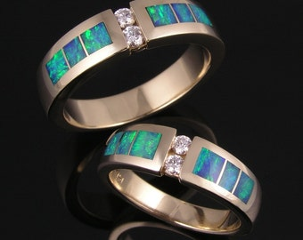Australian opal wedding ring set with diamonds in 14k gold