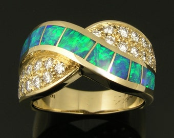 Australian Opal Wedding Ring with Diamond Accents - Diamond and Opal Ring - Opal Wedding Band with Diamonds