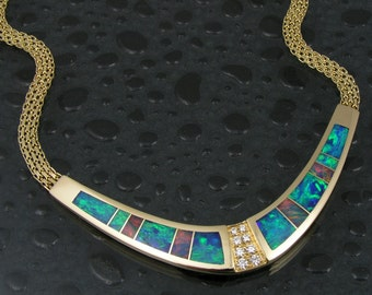 Australian opal necklace in 14 karat gold with diamonds