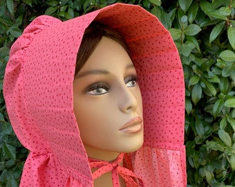 Bonnet - 19th century slat bonnet style in pink, white and red print cotton