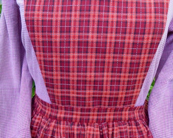 Handmade red, orange, black and white plaid pinner apron, pockets