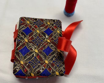 Rich blue and red book shaped silk needle book and pin cushion