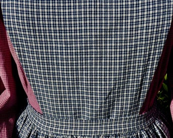 Handmade dark blue and cream plaid pinner apron, pockets