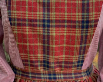 Handmade red, blue and pale green plaid pinner apron, pockets