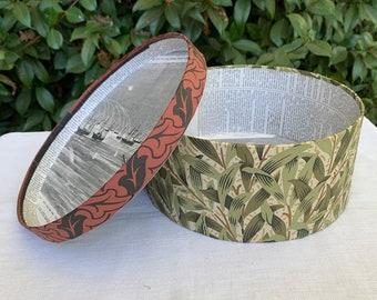 Green leaf wallpaper hat box, wallpaper box, 19th century repro
