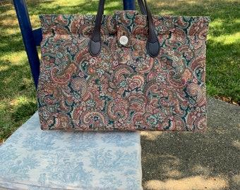 Rose pink, green and cream tapestry bag, 'carpet' bag, leather handles