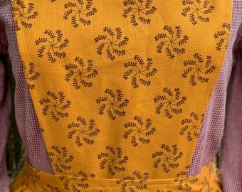 Handmade mustard yellow and brown print pinner apron, pockets