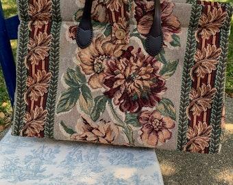 Light green and burgundy tapestry bag, 'carpet' bag, leather handles