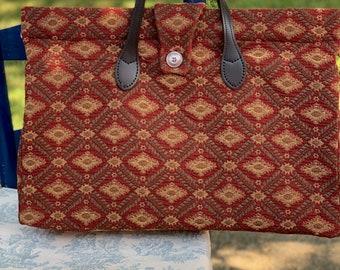 Madder red, green and golden tan tapestry bag, 'carpet' bag, leather handles