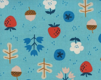 Forage in bright blue from the Welsummer fabric collection by Kim Kight for Cotton + Steel 3059-01