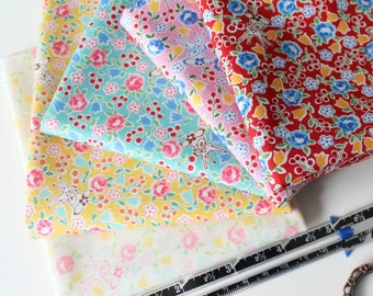 Fat quarter bundle of Bambi in the garden from the 30's fabric collection Spring 2018 by Atsuko Matsuyama for Yuwa - 5 pieces