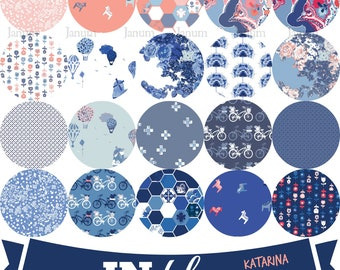 SALE Complete Fat quarter bundle of IN Blue fabric collection by Katarina Roccella for Art Gallery fabrics - INB-36637