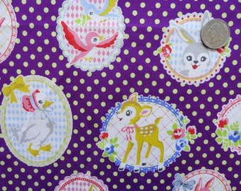 SALE Animals in frames on plum by Kokka of Japan