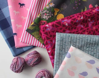 Navy and jewel tones Janum curated bundle- 7 fat quarters