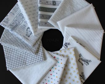 Low volume / white Janum curated bundle- 12 fat quarters