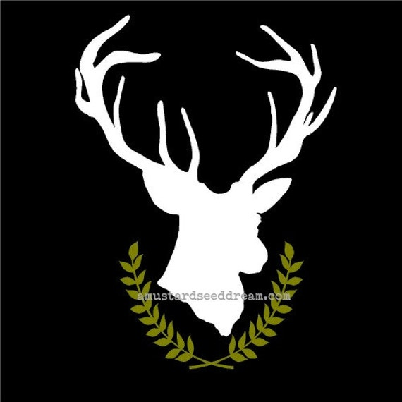 Deer Head Silhouette With Wreath Wall Decal Wall Decor Home Decor Animal