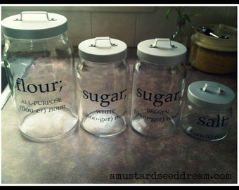Canister Labels - Farmhouse Chic - Vinyl Wall Art, Graphics, Lettering, Decals, Stickers