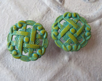 2 Vintage Knobs Retro Woven Curvy Pie Style in Turquoise Blue and Lemonade Hand Painted Vintage Brass Knobs Pulls Cabinets or Drawers B-11